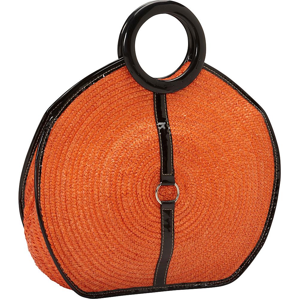 Magid Milan Straw Top Handle Bracelet Round Bag Orange - Magid Straw Handbags