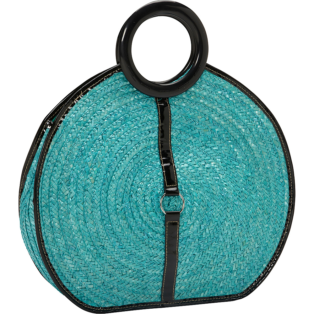 Magid Milan Straw Top Handle Bracelet Round Bag Turquoise - Magid Straw Handbags