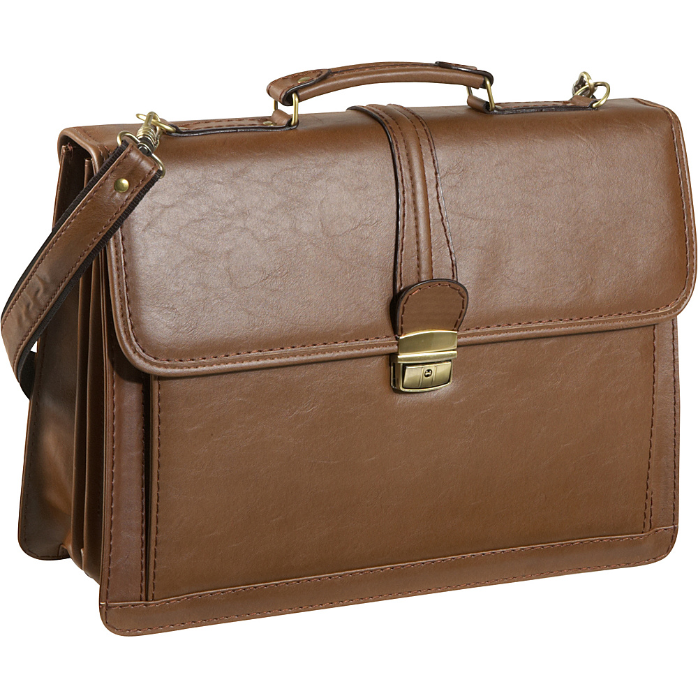 AmeriLeather Quincy Executive Briefcase - Brown - Work Bags & Briefcases, Non-Wheeled Business Cases