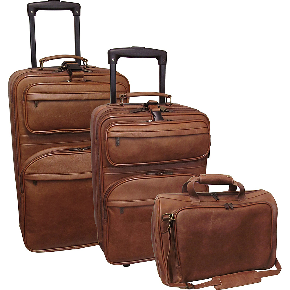 AmeriLeather Leather 3 pc. Set Traveler - Brown - Luggage, Luggage Sets