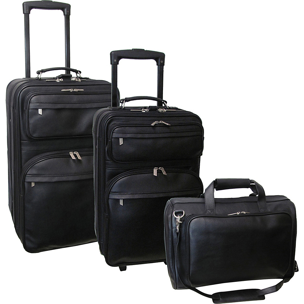 AmeriLeather Leather 3 pc. Set Traveler Black - AmeriLeather Luggage Sets - Luggage, Luggage Sets