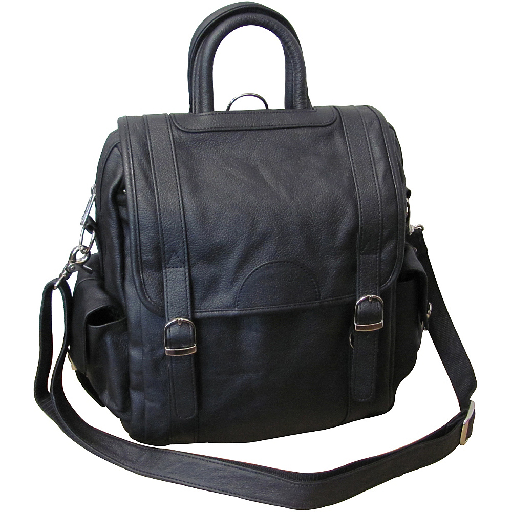 AmeriLeather Leather Three Way Backpack - Black - Backpacks, Everyday Backpacks