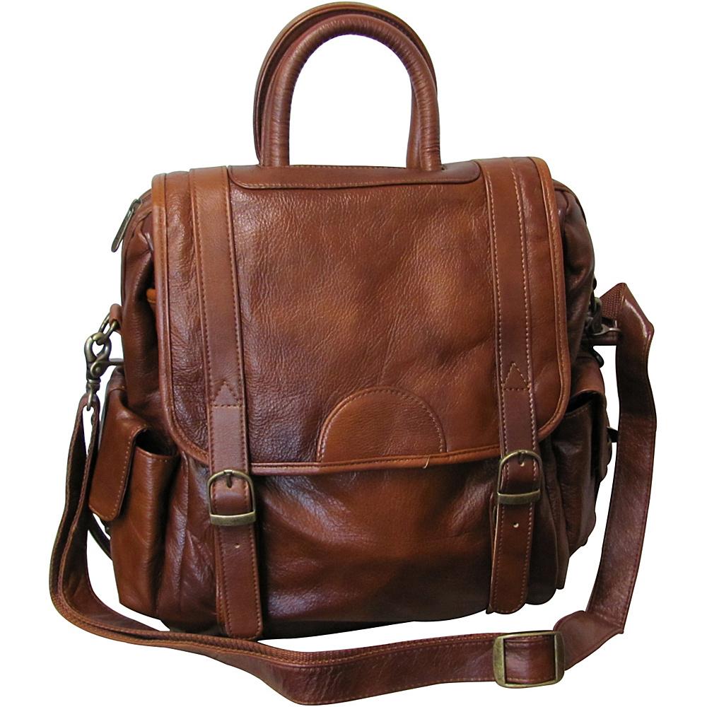 AmeriLeather Leather Three Way Backpack - Brown - Backpacks, Everyday Backpacks