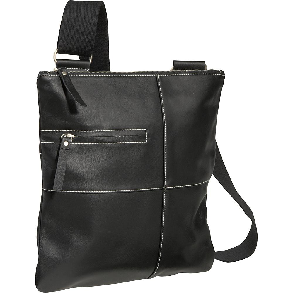 AmeriLeather Slim Cross-Body Messenger Bag - Black - Handbags, Leather Handbags