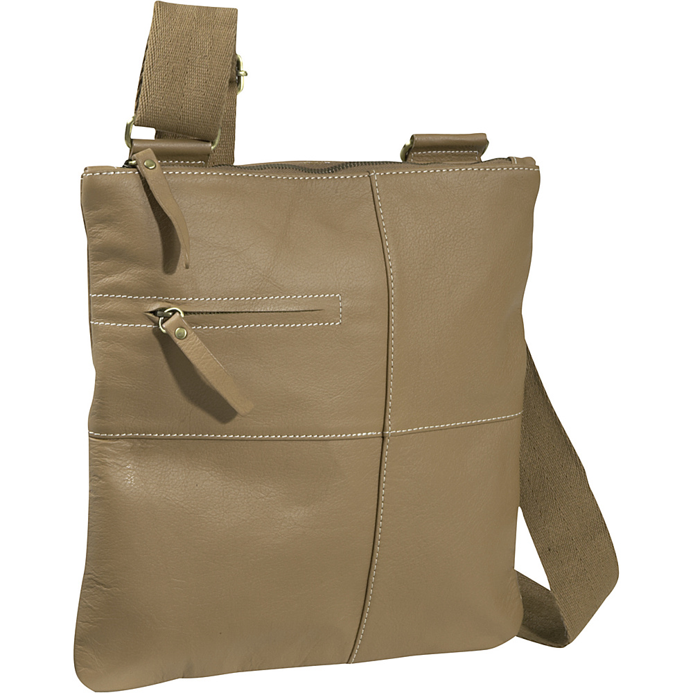 AmeriLeather Slim Cross-Body Messenger Bag - Caramel - Handbags, Leather Handbags