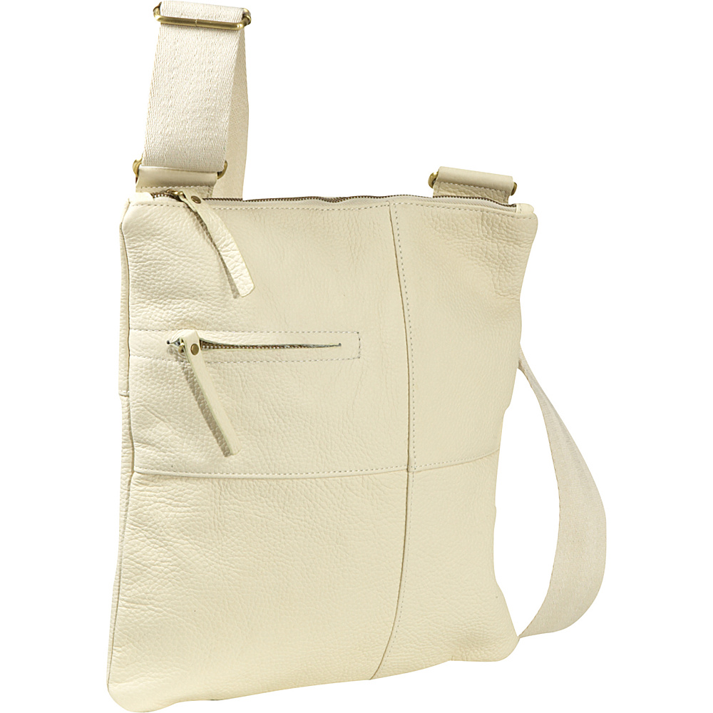 AmeriLeather Slim Cross-Body Messenger Bag - Cream - Handbags, Leather Handbags