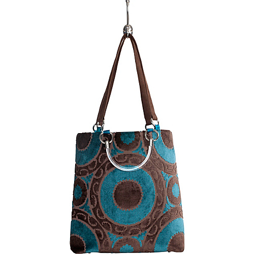 Baxter Designs Large Medallion Tote Teal - Baxter Designs Fabric Handbags
