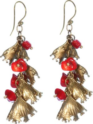 Add a burst of lively color to any casual outfit with these coral and gold tone drop earrings from Silvana K Designs. The Silvana K Designs Coral Earrings are crafted from nickel free and lead free recycled brass that has been crafted following green methods and naturally treated to create a vintage look. These handmade earrings feature a combination of natural coral stones and gold tone coral reef shaped drops that add texture, movement, and interest to the overall look. Suspended from 18 karat gold plate ear wire hooks, these dangling earrings are easy and comfortable to wear for all day use.