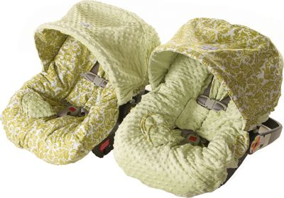 Itzy Ritzy Baby Ritzy Rider Infant Car Seat Cover Avocado Damask - Itzy Ritzy Diaper Bags & Accessories