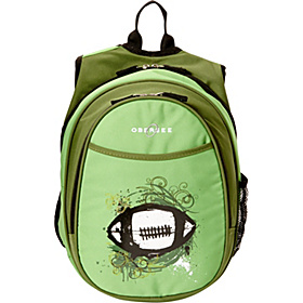 O3 Kids Pre-School Football Backpack with Integrated Lunch Cooler Green Football