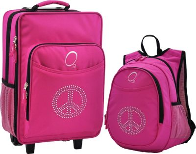 Obersee Kids Peace Luggage and Backpack Set With Integrated Cooler Pink Bling Rhinestone Peace - Obersee Softside Carry-On