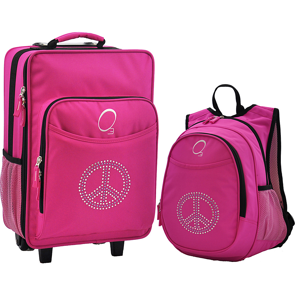 Obersee Kids Peace Luggage and Backpack Set With Integrated Cooler Pink Bling Rhinestone Peace Obersee Softside Carry On