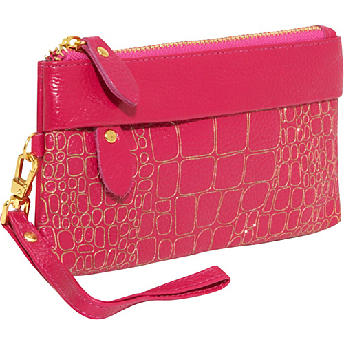 AmeriLeather Sparks Leather Clutch Wristlet - Fuchsia