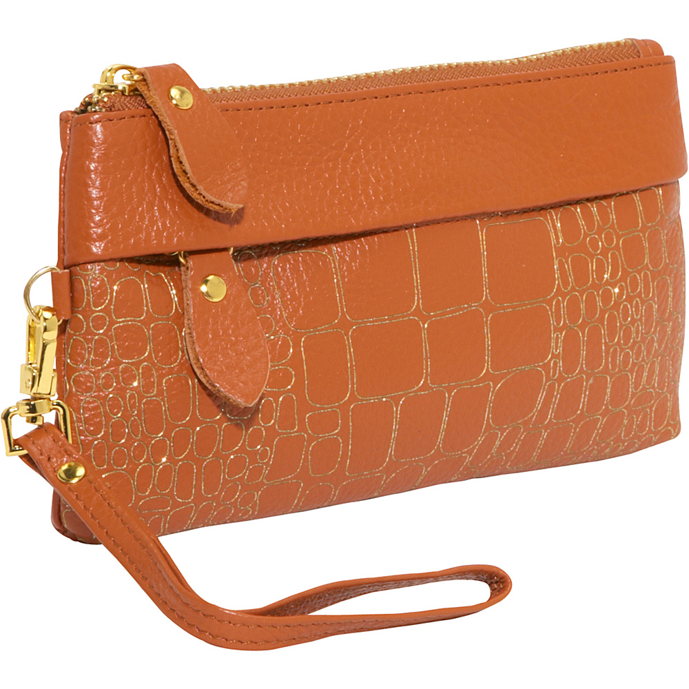 AmeriLeather Sparks Leather Clutch Wristlet - Rust - Handbags, Leather Handbags