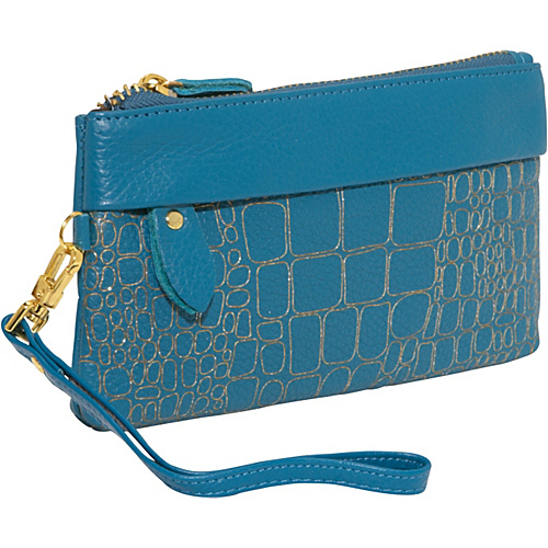 AmeriLeather Sparks Leather Clutch Wristlet - Teal