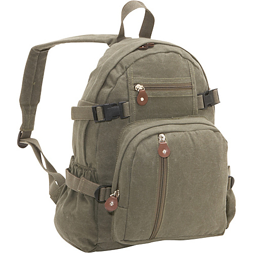 [Image: Rothco Vintage Canvas Backpack Olive - Rothco School & Day Hiking Backpacks]