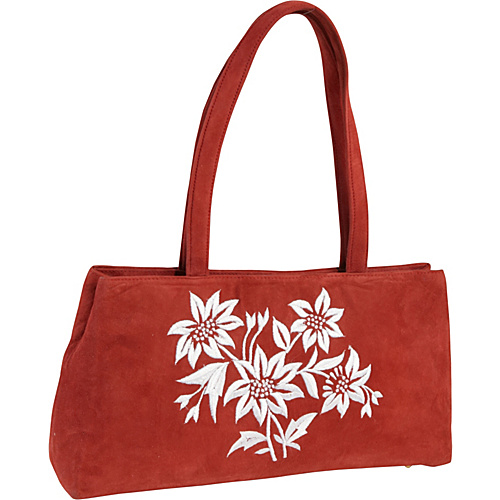 Moyna Handbags Embroidered Suede Bag Red