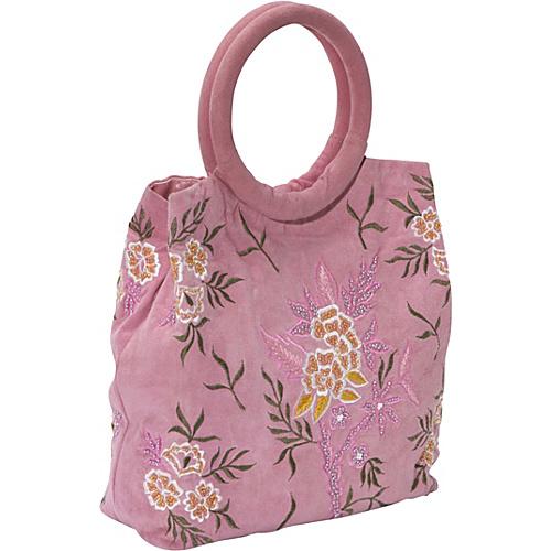 Moyna Handbags Embroidered Suede Bag Pink
