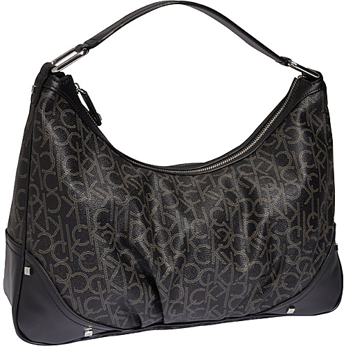Calvin Klein Hudson Monogram Hobo Black/Cement - Calvin Klein Fabric Handbags