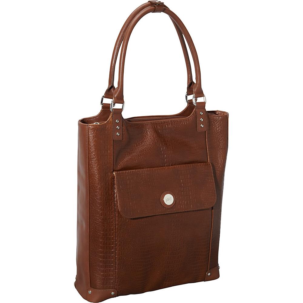 Jill e Designs E GO Leather Laptop Tote Brown Croc Jill e Designs Women s Business Bags