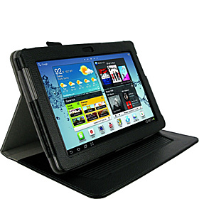 Samsung GALAXY Tab 2 10.1: Dual-Axis Leather Folio Case Black