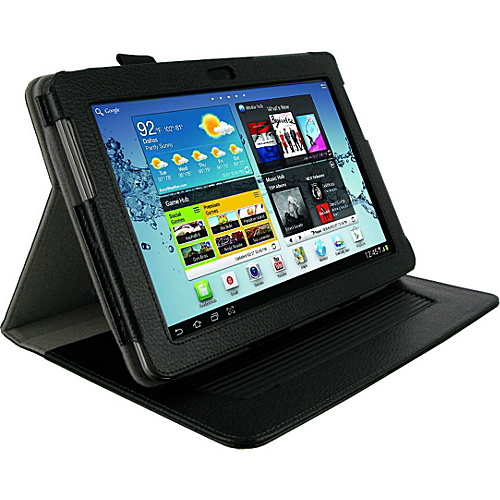 rooCASE Dual-Axis Leather Folio Case for Samsung GALAXY Tab 2 10.1 Black - rooCASE Laptop Sleeves