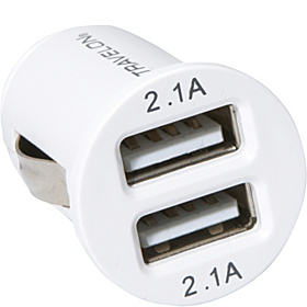 12V Dual USB Charger White