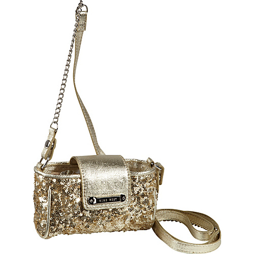 Nine West Handbags Flash Lite Mini Tech Crossbody Soft Gold - Nine West Handbags Ladies Wallet on a String