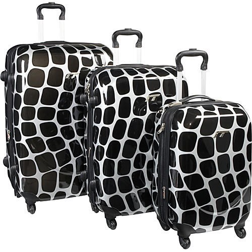 IT Luggage Shiny Oval Wave 3 Piece Spinner Luggage Set Oval Wave Print - IT Luggage Hardside Luggage