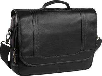 Samsonite Colombian Leather Flapover 15.6 inch Laptop Briefcase Black - Samsonite Non-Wheeled Business Cases