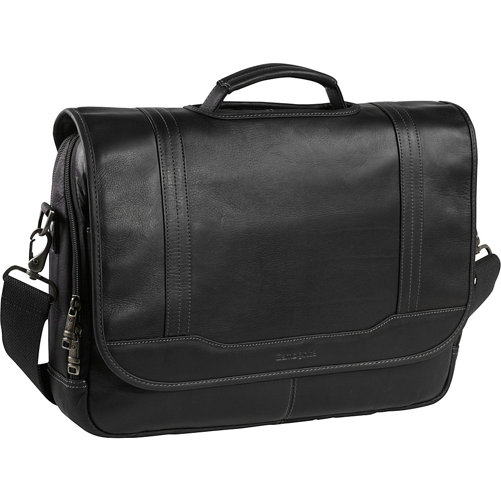 "Samsonite Colombian Leather Flapover 15.6"" Laptop Briefcase Black - Samsonite Non-Wheeled Computer Cases"
