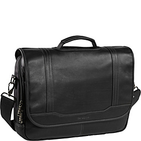 Colombian Leather Flapover 15.6'' Laptop Briefcase Black