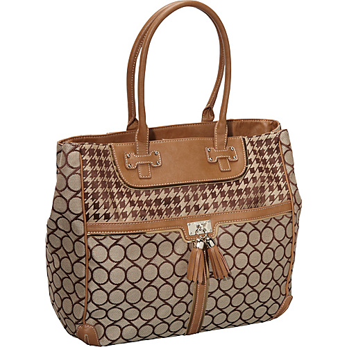 Nine West Handbags On Cloud Ninety Nine Tote Brown Khaki Vachetta - Nine West Handbags Fabric Handbags