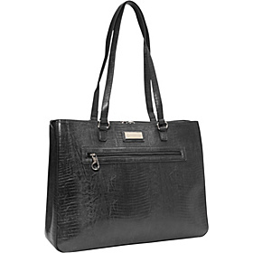 Faux Snakeskin Laptop Tote Black