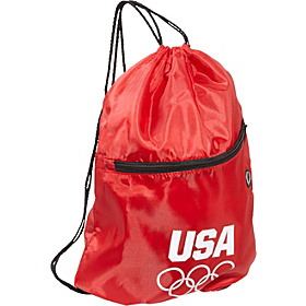 Olympic Games Red String Bag w/Front Zipper Red