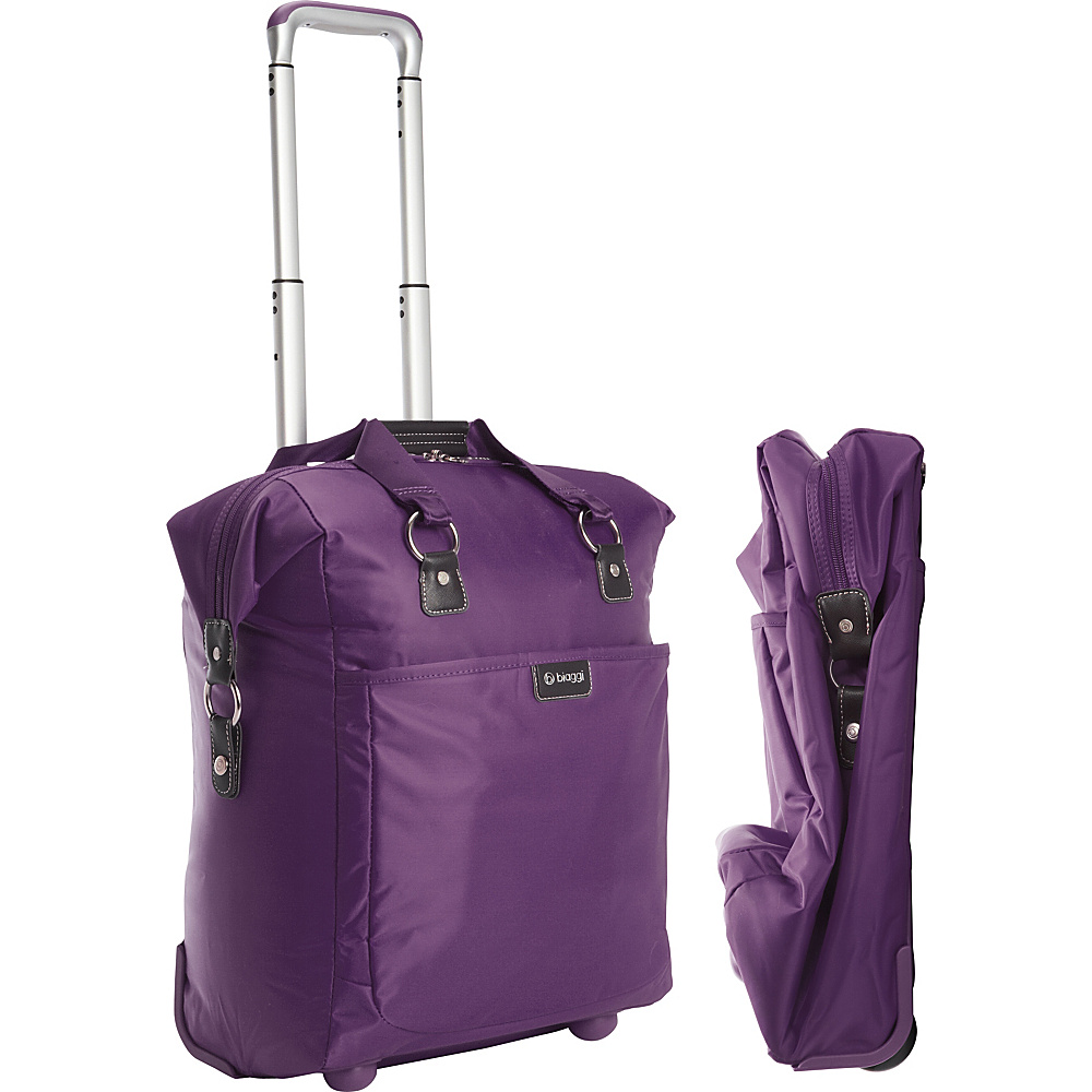 "biaggi Contempo Foldable 18"" Wheeled Tote Purple - biaggi Small Rolling Luggage"
