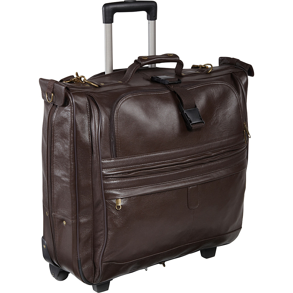 AmeriLeather Leather Rolling Garment Bag Chestnut Brown - AmeriLeather Garment Bags