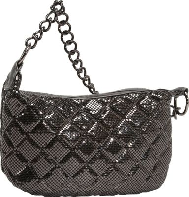 Whiting and Davis Quilted Mesh Hobo Gunmetal - Whiting and Davis Evening Bags