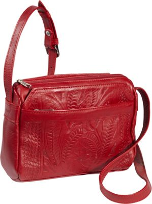 Ropin West Small Multipocket Shoulder Bag Red - Ropin West Leather Handbags