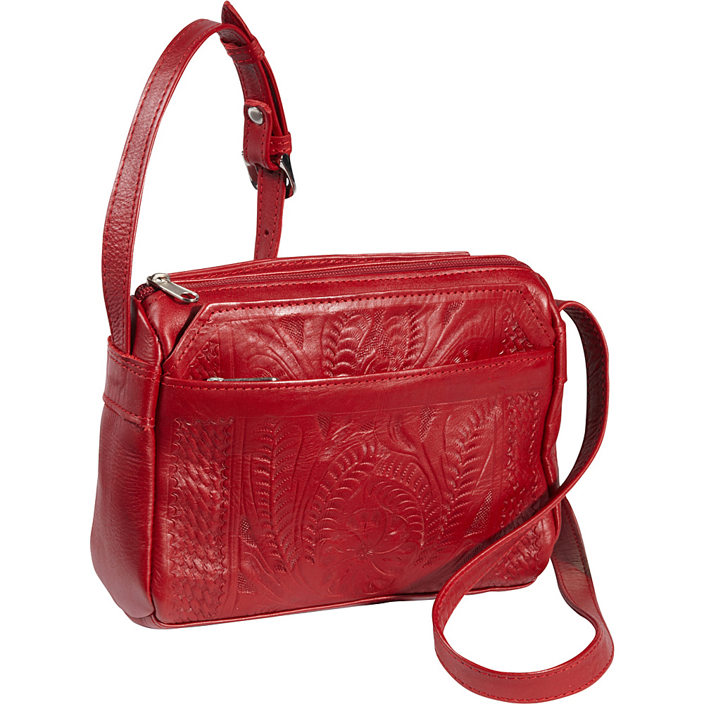 Ropin West Small Multipocket Shoulder Bag Red Ropin West Leather Handbags