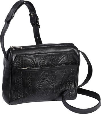 Ropin West Small Multipocket Shoulder Bag Black - Ropin West Leather Handbags