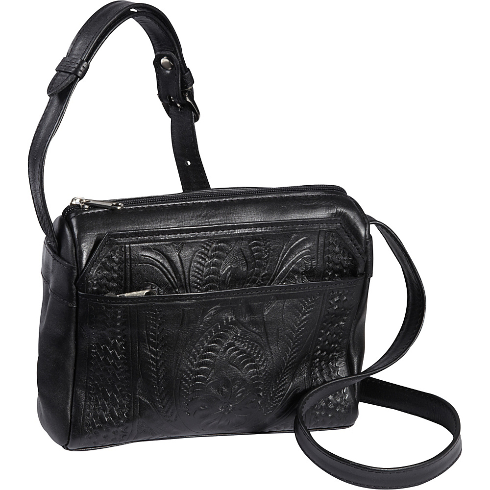 Ropin West Small Multipocket Shoulder Bag Black Ropin West Leather Handbags