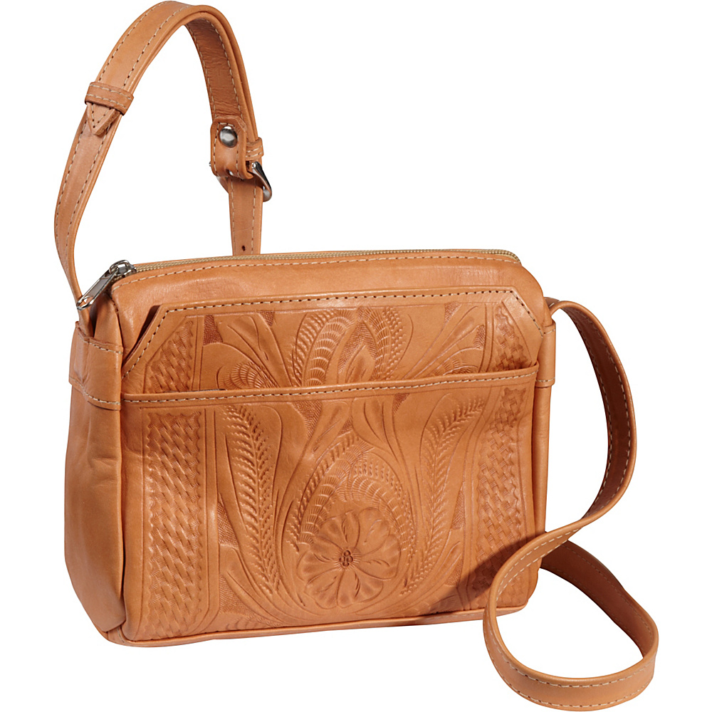Ropin West Small Multipocket Shoulder Bag Natural Ropin West Leather Handbags