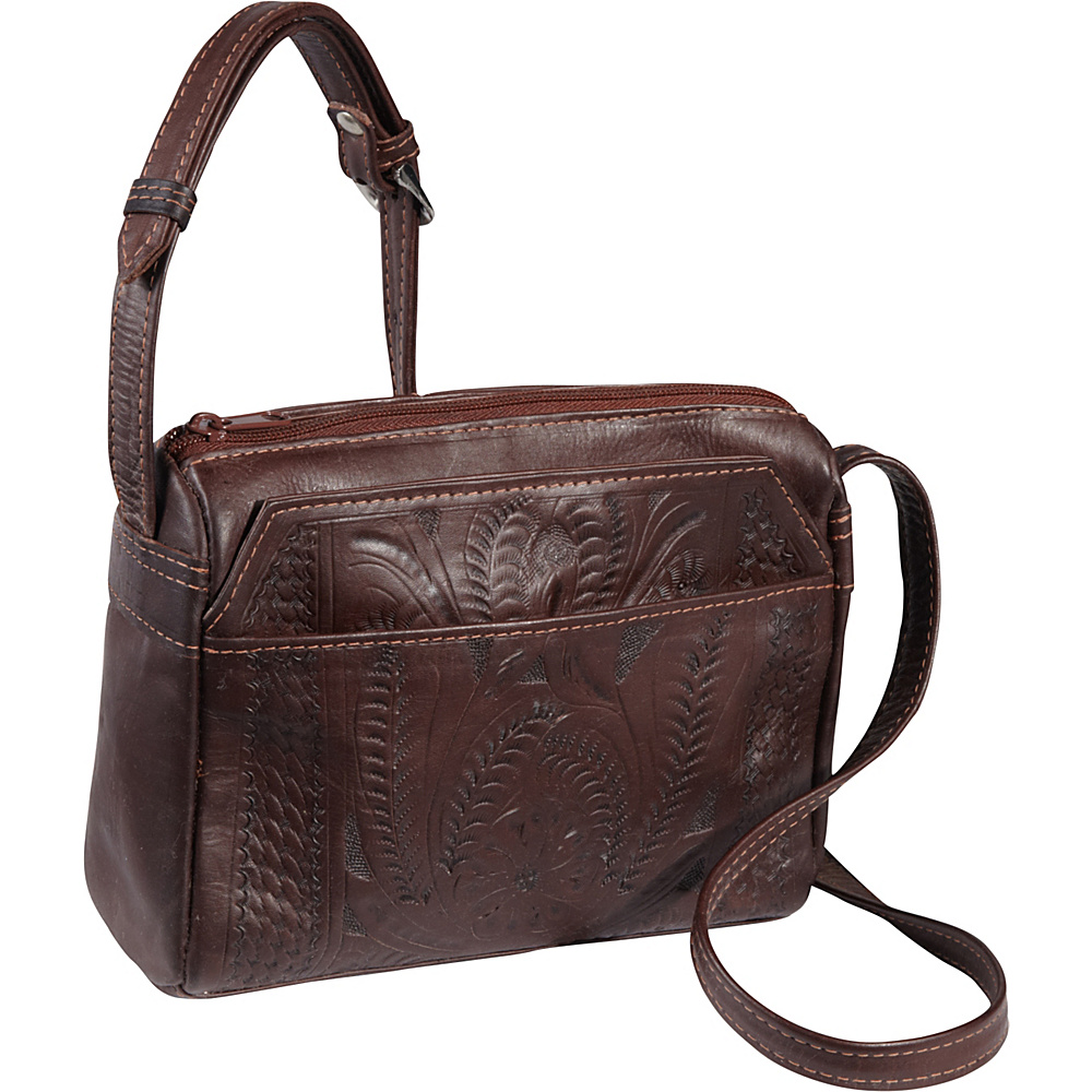 Ropin West Small Multipocket Shoulder Bag Brown Ropin West Leather Handbags
