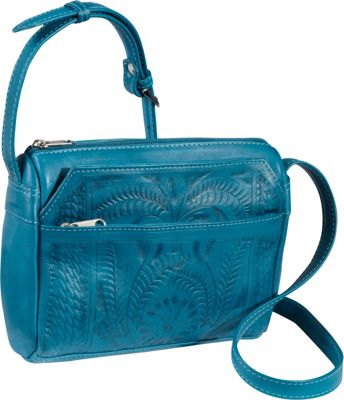 Ropin West Small Multipocket Shoulder Bag Turquoise - Ropin West Leather Handbags