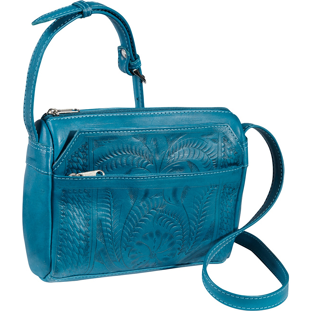 Ropin West Small Multipocket Shoulder Bag Turquoise Ropin West Leather Handbags