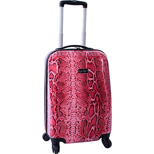"Jessica Simpson Luggage Snake 20"" Twister Hardside Coral - Jessica Simpson Luggage Small Rolling Luggage"