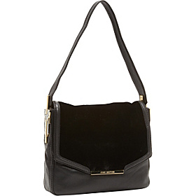 Deco Glam Leather & Velvet Shelby Flap Shoulder Bag Black