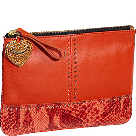 Snake & Stud Leather $ Pieces Med Pouch Fire Opal