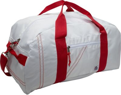 SailorBags Sailcloth Large Square Duffel White with Red Straps - SailorBags Travel Duffels